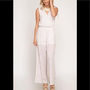 White and tan striped Jumpsuit -Size Large